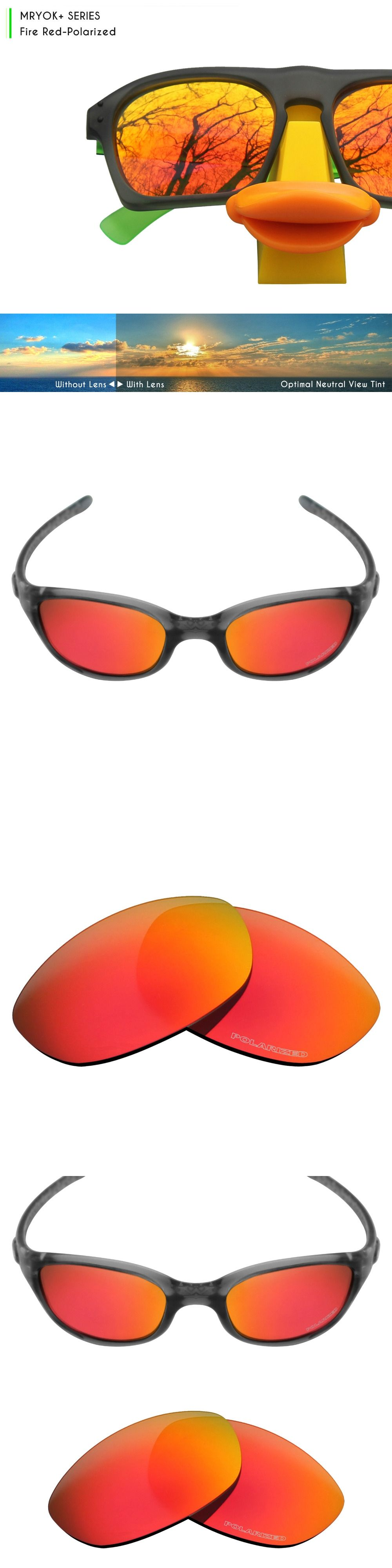 ac19a8479f9 Mryok+ POLARIZED Resist SeaWater Replacement Lenses for Oakley Fives 2.0  Sunglasses Fire Red