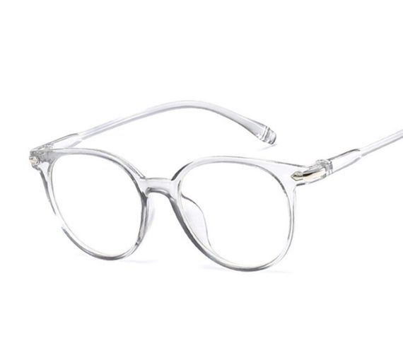 Photo of Transparent Round clear and grey Blue light blocking computer/tablet glasses