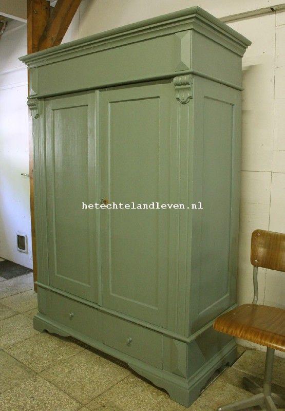 Landelijke oude kast Demontabel  Olijf groen 1454  Huis
