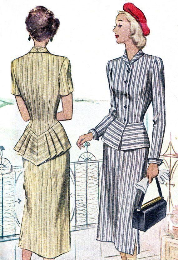 1940s Dress Pattern McCall 7188 Womens Two Piece Peplum