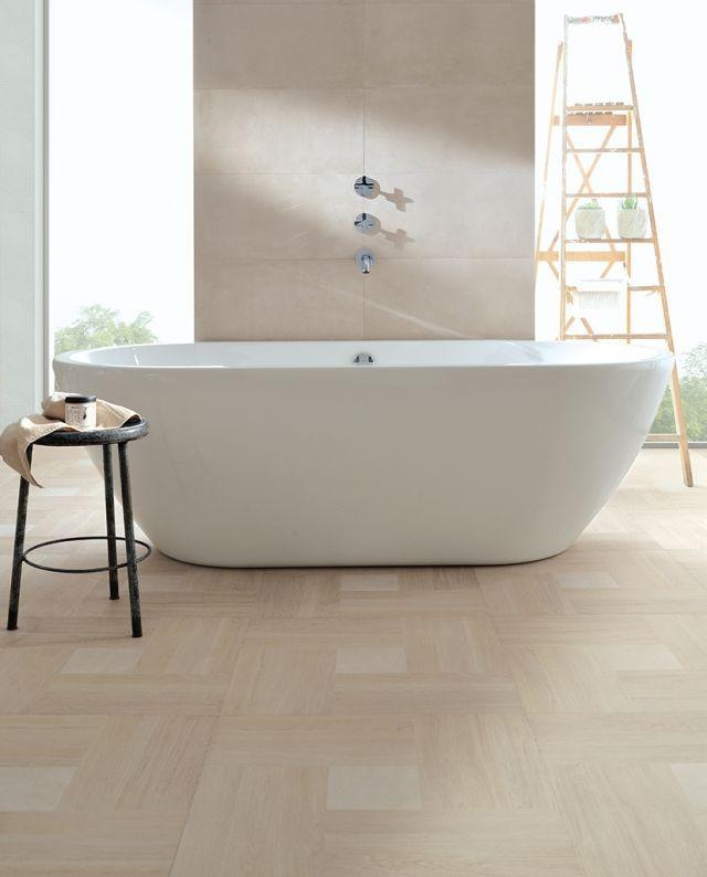 bad bodenfliesen beige badewanne ovale form Badezimmer