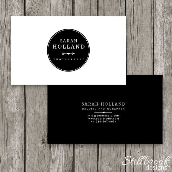 Photoshop Business Card Template Black White Logo Business - Photography business card template photoshop
