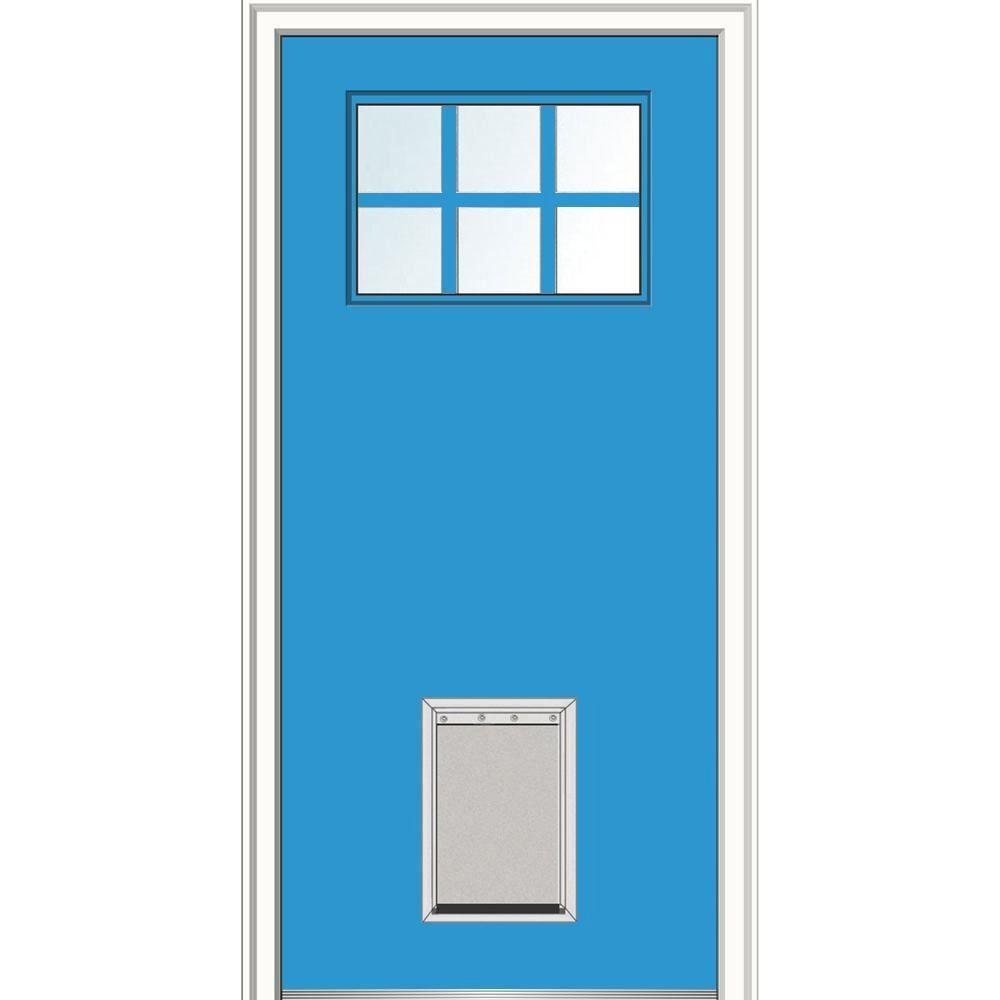 Mmi Door 32 In X 80 In Classic Right Hand Inswing 6 Lite Clear Painted Fiberglass Smooth Prehung Back Door With Larg In 2020 Mmi Door Prehung Doors Front Entry Doors