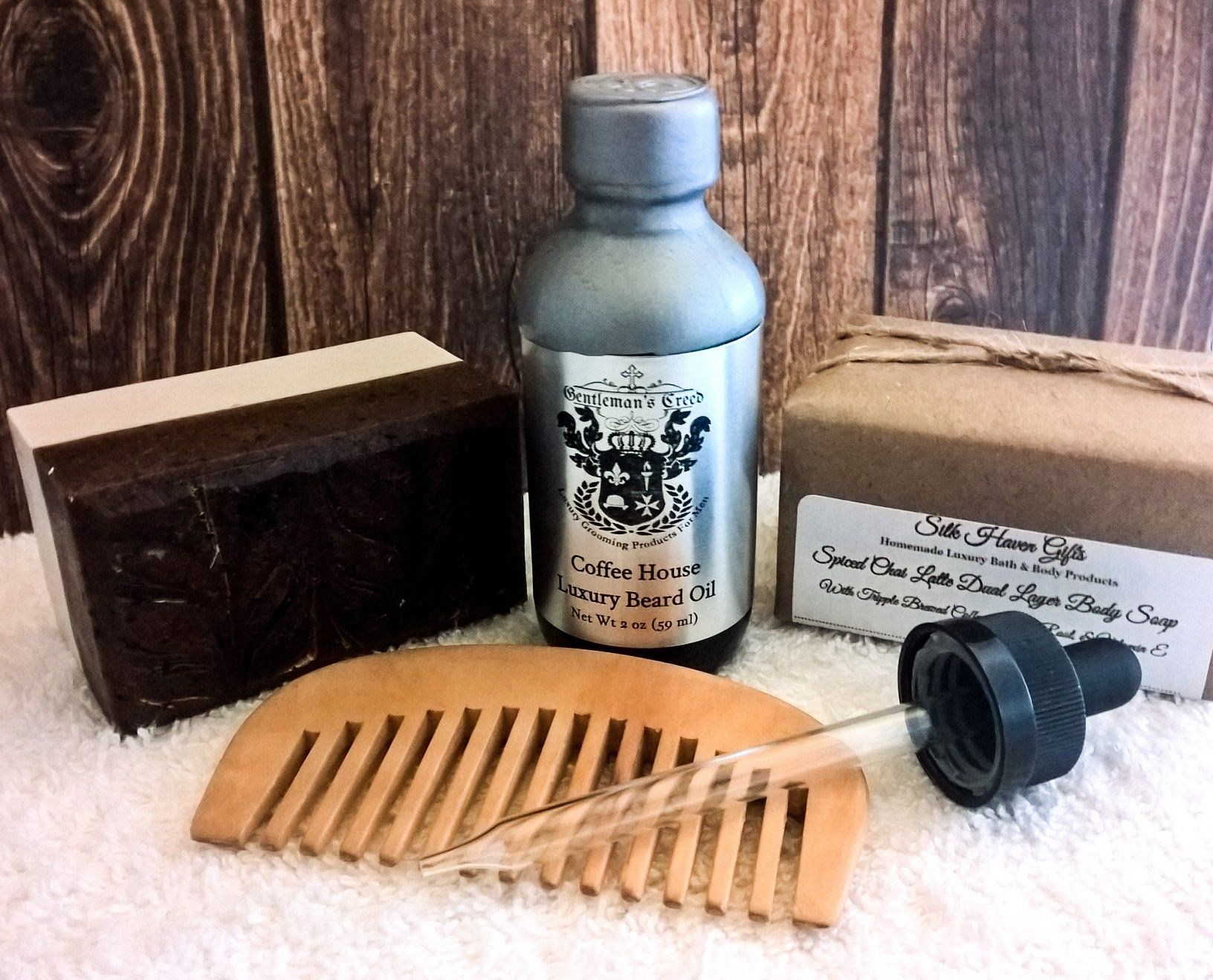 Coffee Beard Oil and Men's Soap Set, Beard Care (Coffee