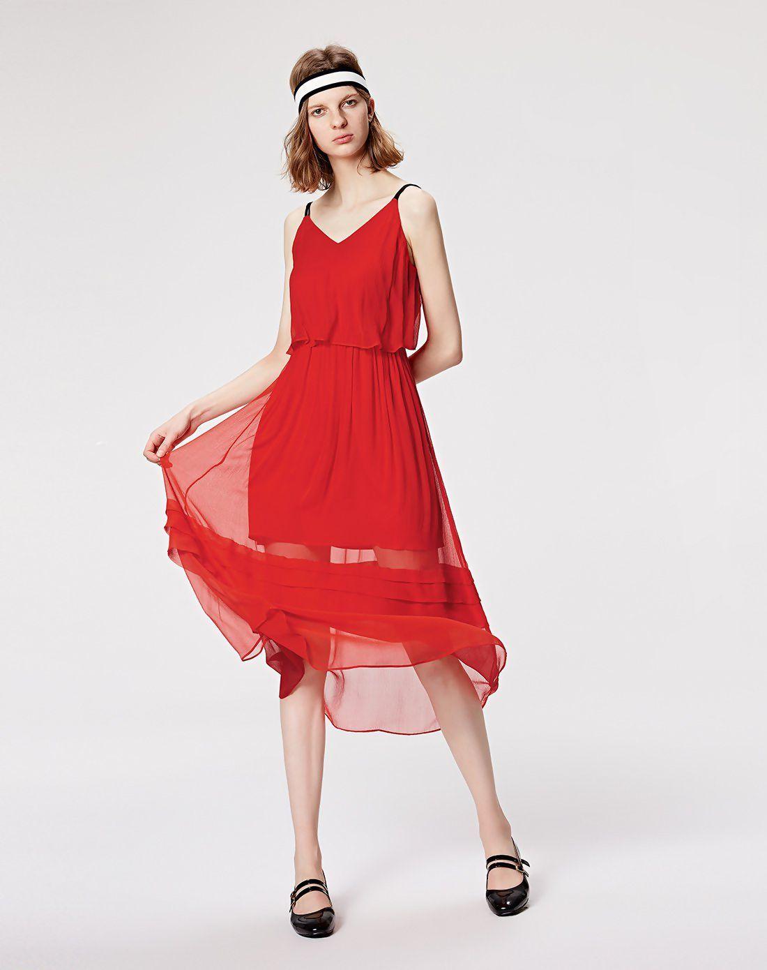 Red sleeveless high waist length womenus a line dress vip