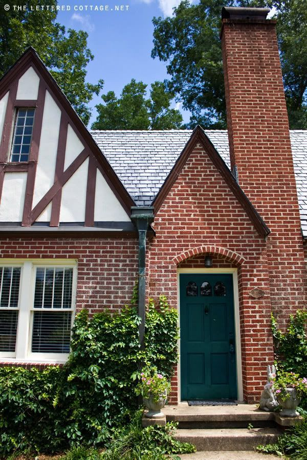 TUDOR BRICK HOUSES WITH PAINTED FRONT DOORS. I Like A Blue Green With Red  Brick