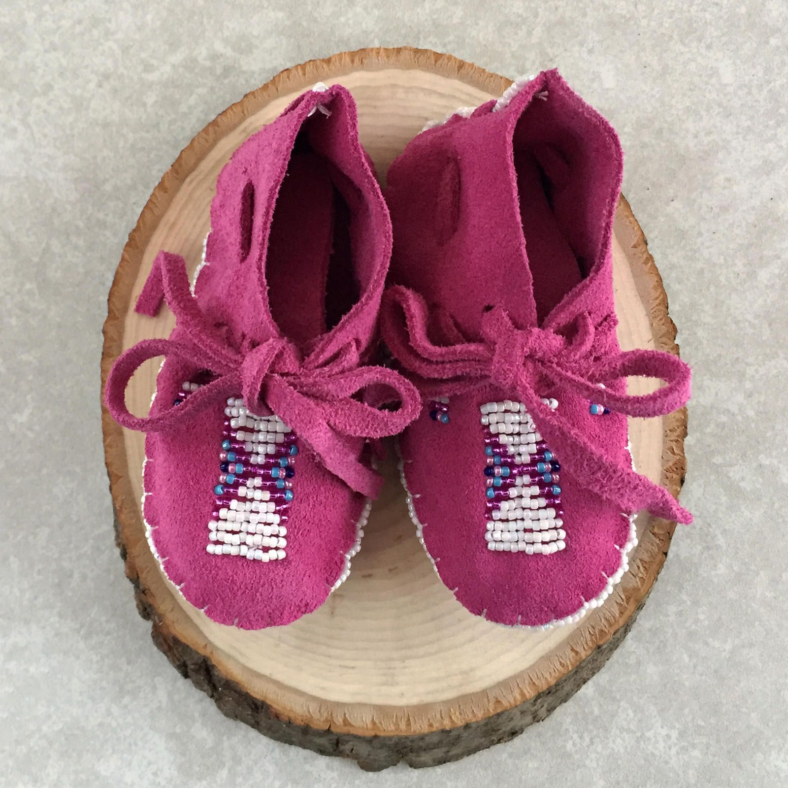 Native American Baby Moccasins Beaded Baby Shoes Soft Sole Leather