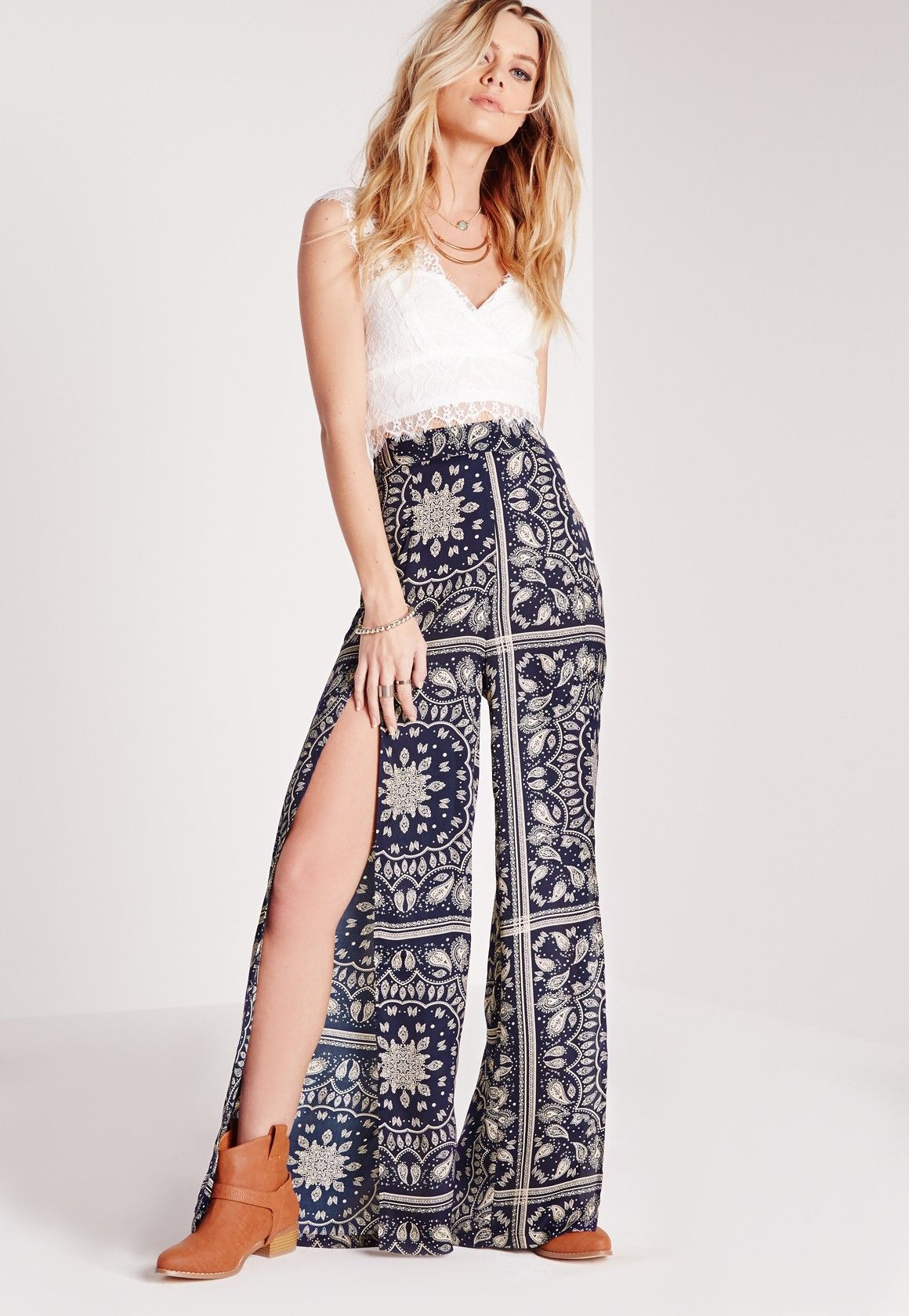 Missguided split leg paisley print trousers navy fashion