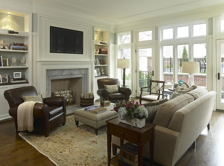 Living Room Decorating Ideas On A Budget   Classy And Neutral Family Room ( Furniture Arrangement) Like The Bookcases On Either Side Of The Fireplace.