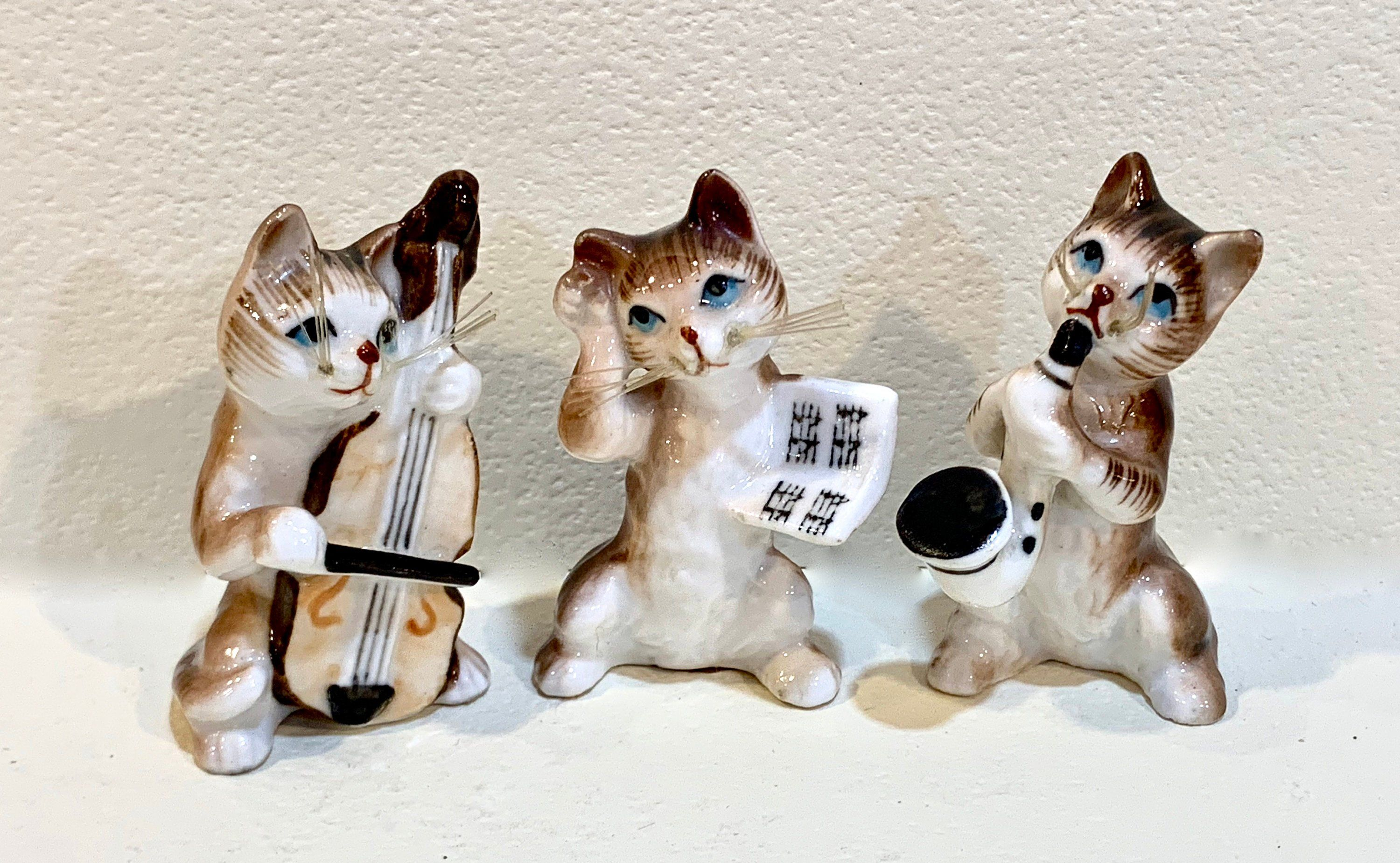 Vintage Cat Band Figurines Jazz Band Musical Cats Bone China Cats Made In Japan Miniature Cat Band 3 Piece Set Vintage Halloween Cat Ornament Vintage Cat