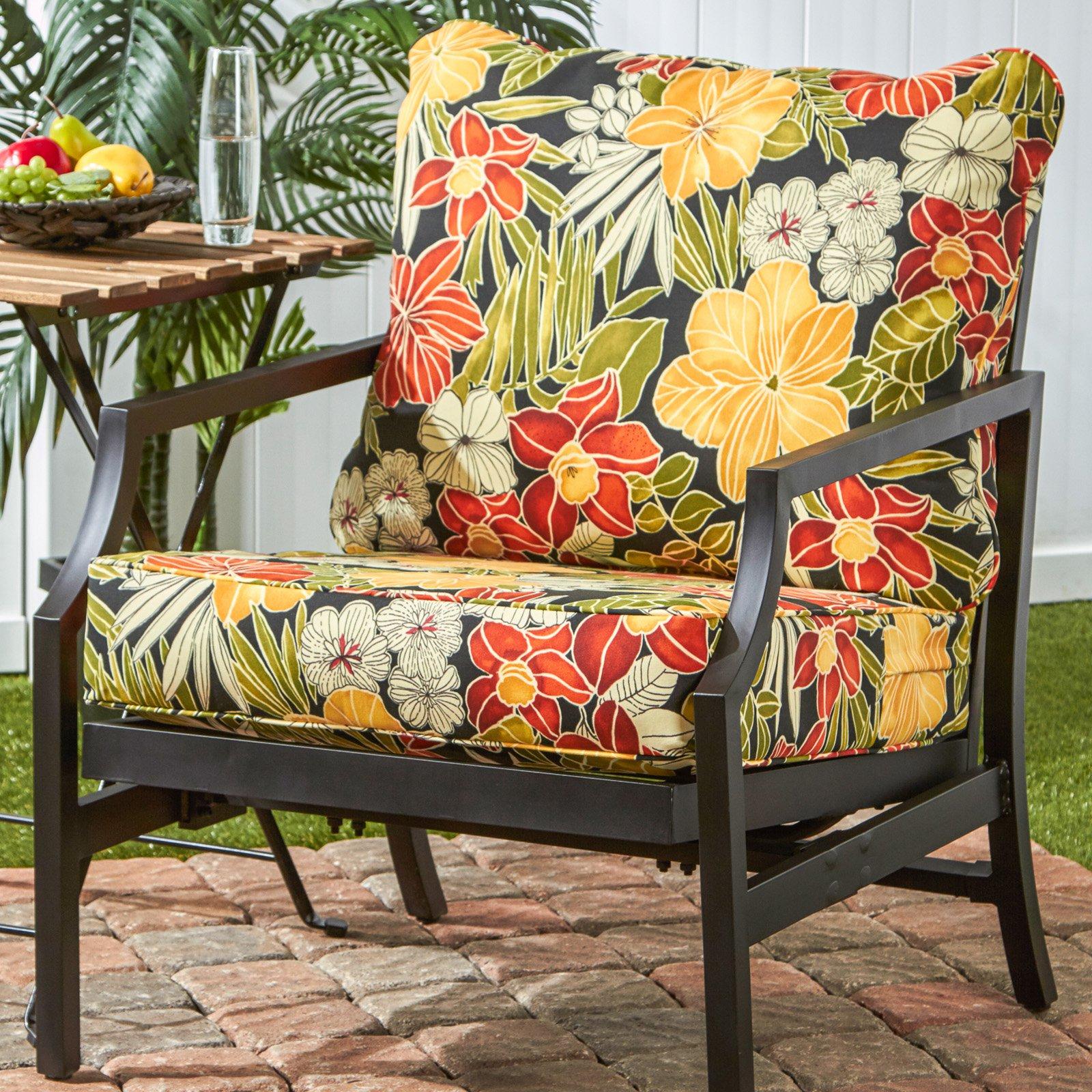Amazing Greendale Home Fashions Deep Seat Cushion Set Aloha Black Evergreenethics Interior Chair Design Evergreenethicsorg
