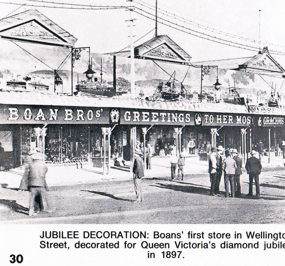 Boan Bros decorated for Queen Victoria's diamond jubilee, Wellington Street, Perth, 1897