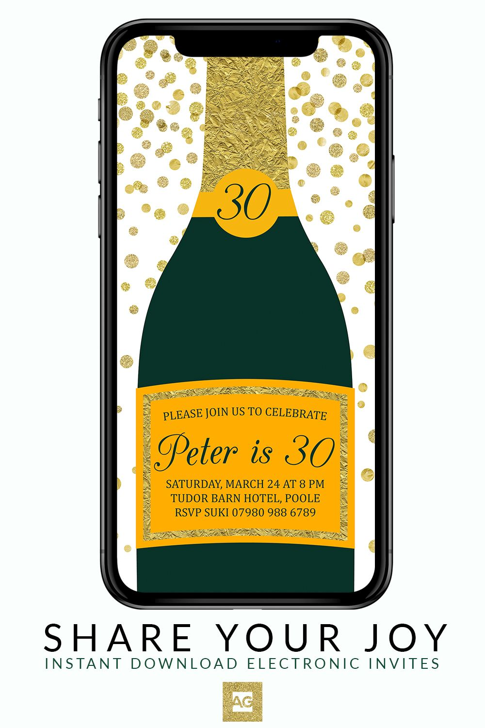 Champagne Bottle Party Invitation With Gold Confetti