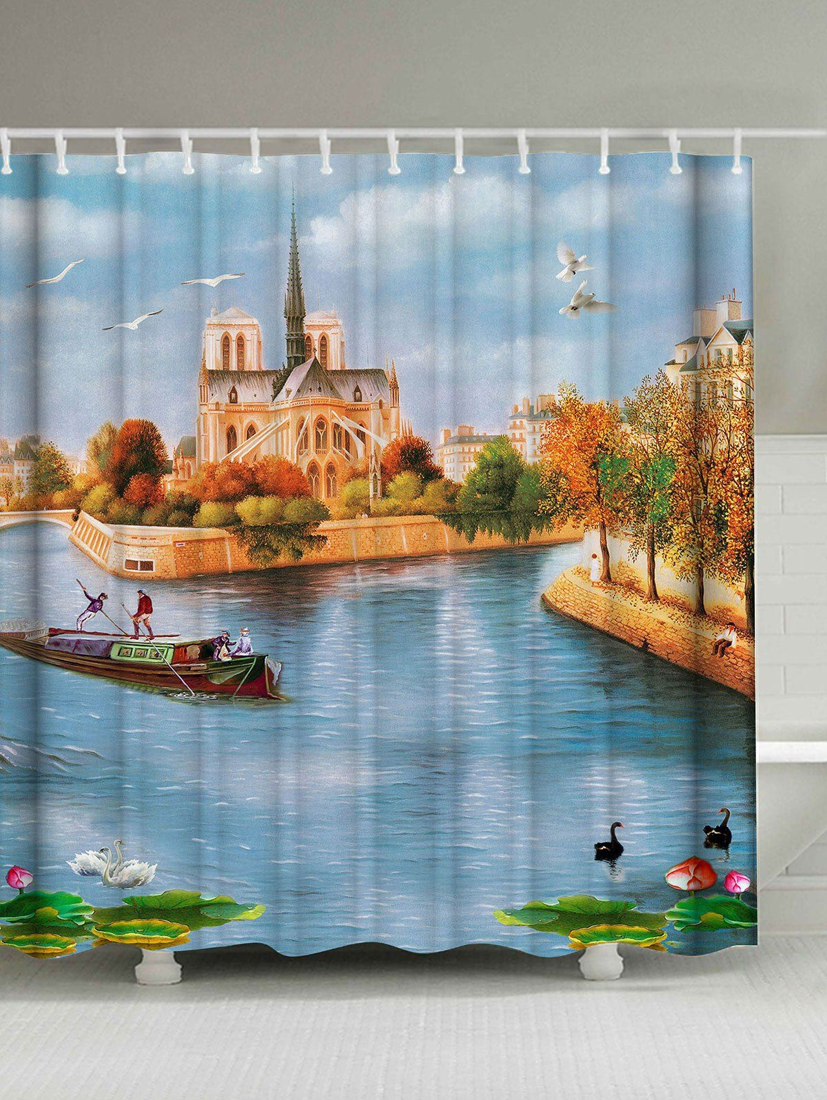 Scenic Oil Painting Waterproof Fabric Shower Curtain Fabric