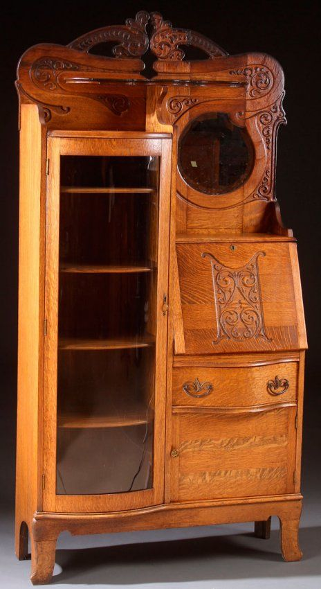 A Victorian Oak Curved Gl Secretary Bookcase With Carved Scroll Decoration C 1900