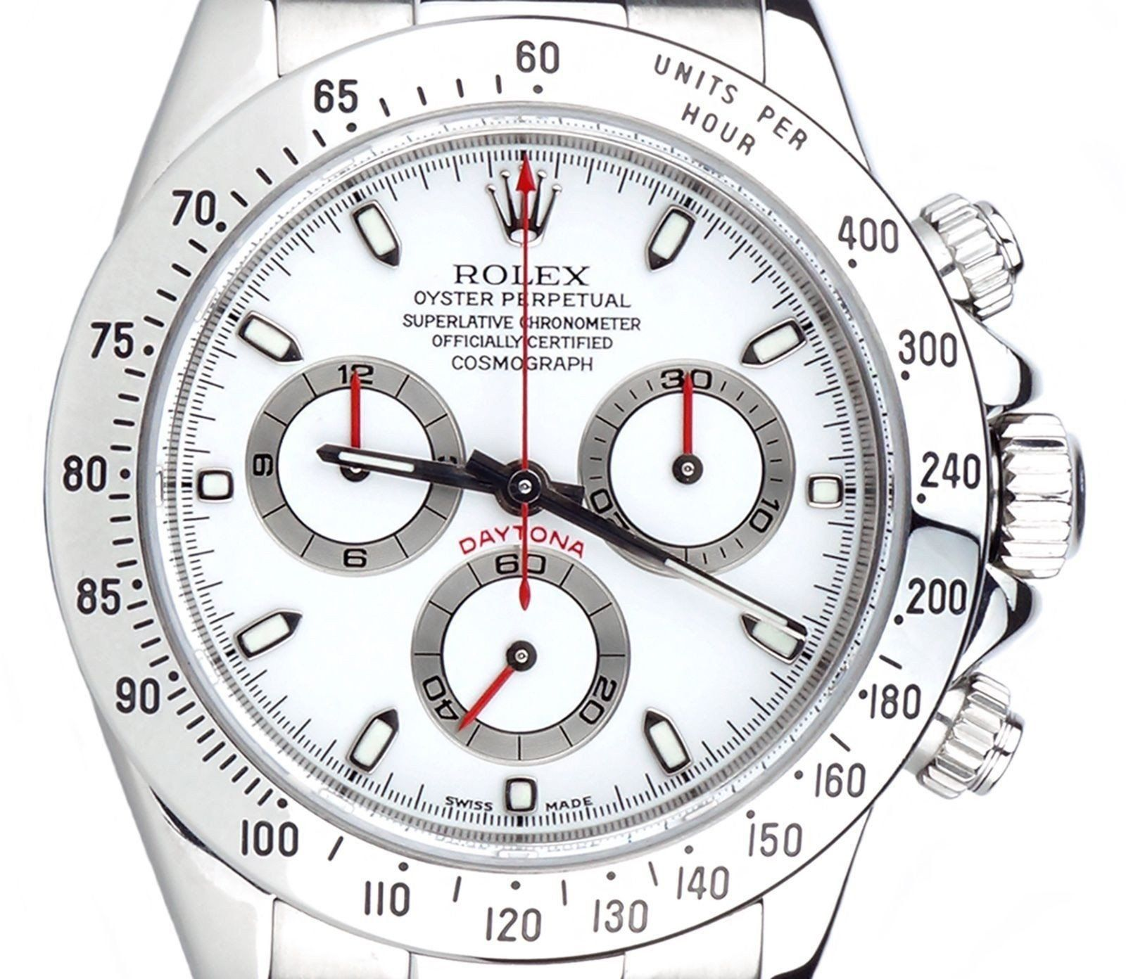 Rolex Daytona Stainless Steel White Dial with Custom Red