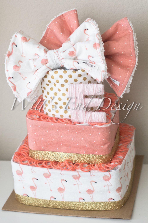 Flamingo Baby Girl 3 Tier Square Diaper Cake Or Shower