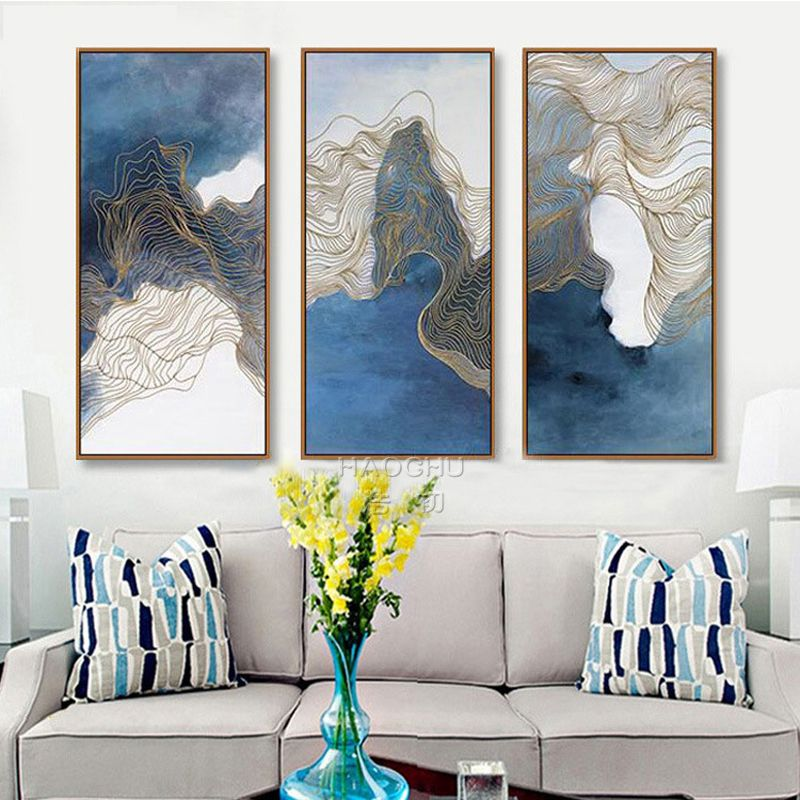 Abstrakte Mix Blau Farbe Nordic Kunst Malerei Leinwand Gold Linien - wohnzimmer bilder abstrakt