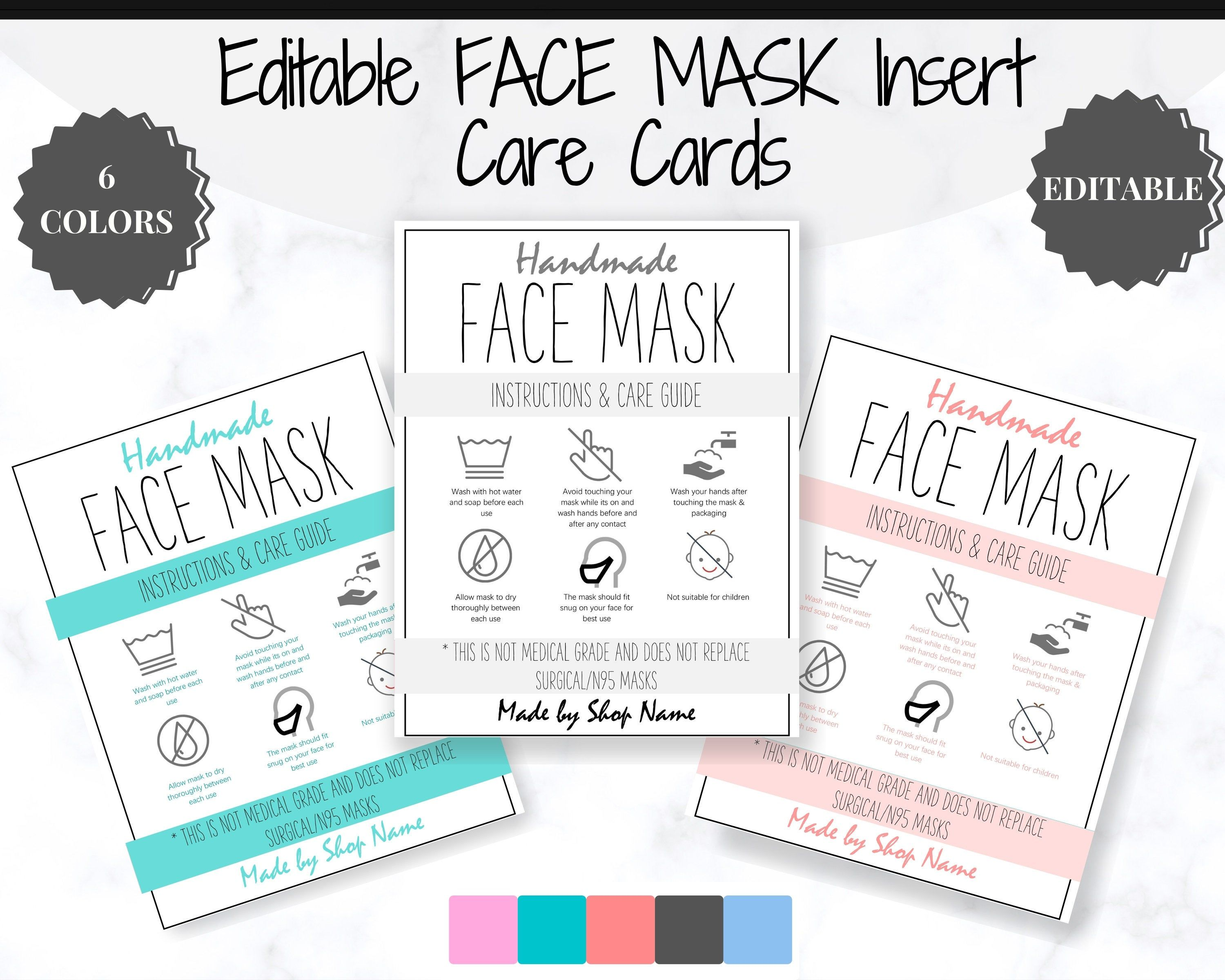 Editable Face Mask Label Care Card How To Handle Order Card Etsy Business Labels Packaging Labels Face Mask
