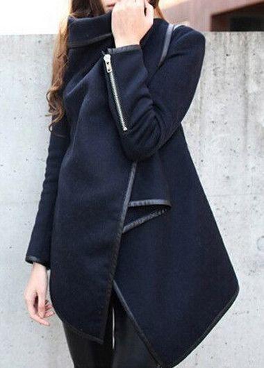 Navy Blue Wool Asymmetric Coat