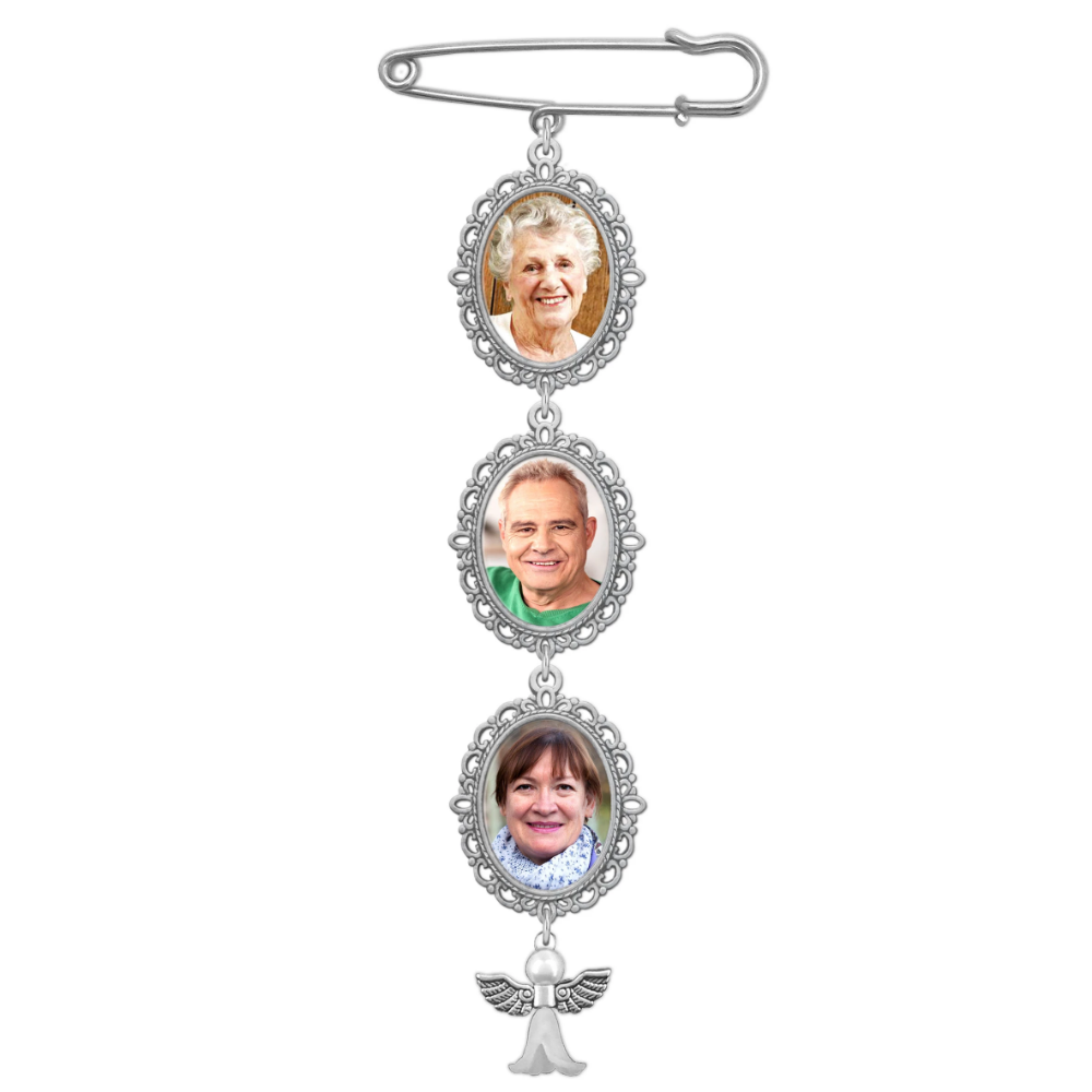 Wedding Boutonniere Bouquet Charm Pin Angel Wing Photo Charm Mother of The Bride Groom w//Photo Resizing Software