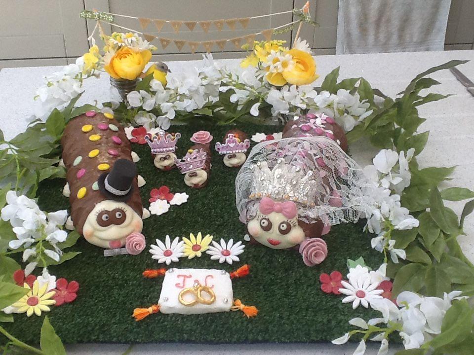 quirky colin caterpillar wedding cake as a surprise for