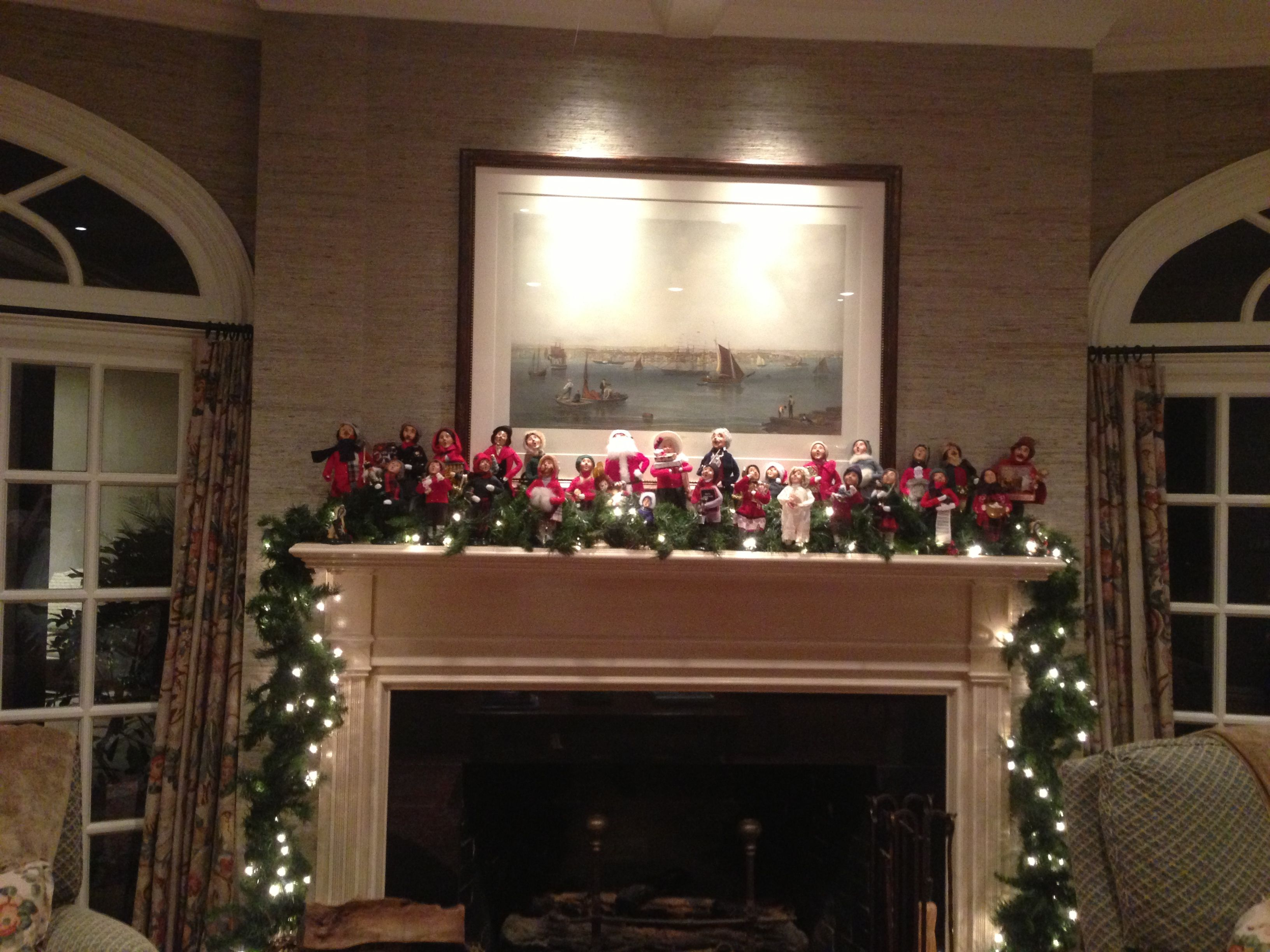 My family room mantle - The Carolers adding a festive flair.