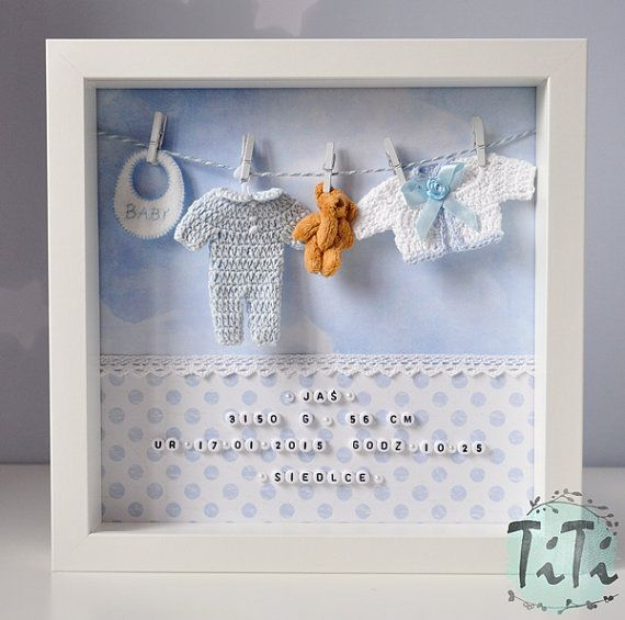 Baby Decorative Frame, New baby, Personalised box Frame, Name Weight ...