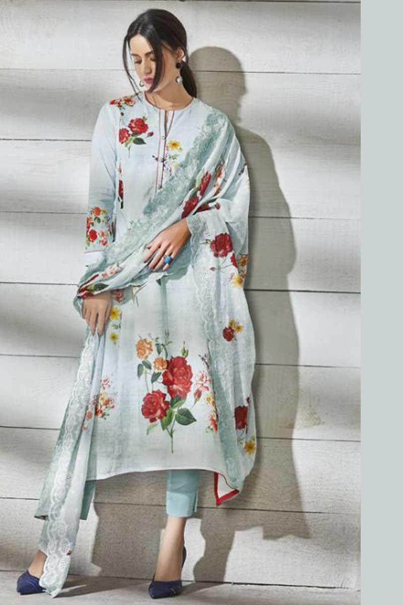 Plazzo Unstitched Ethnic Embroidered Cotton Salwar Kameez Pakistani Asian Dress