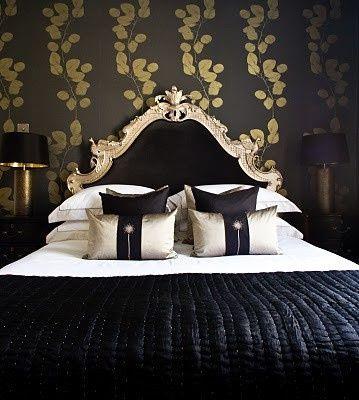 d co int rieur noir et dor chambre noire et dor e. Black Bedroom Furniture Sets. Home Design Ideas