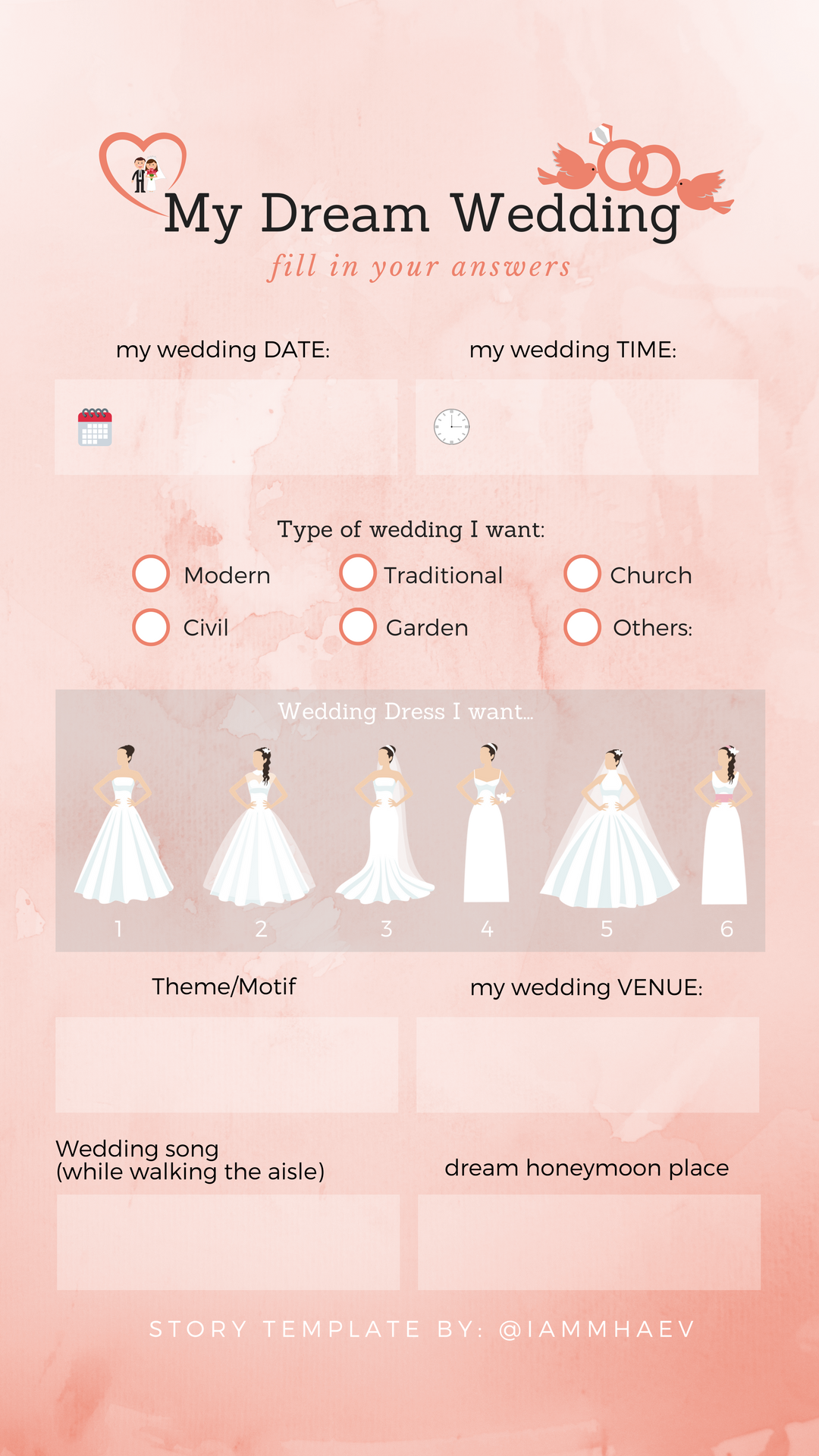 My Dream Wedding Instagram Story Templates