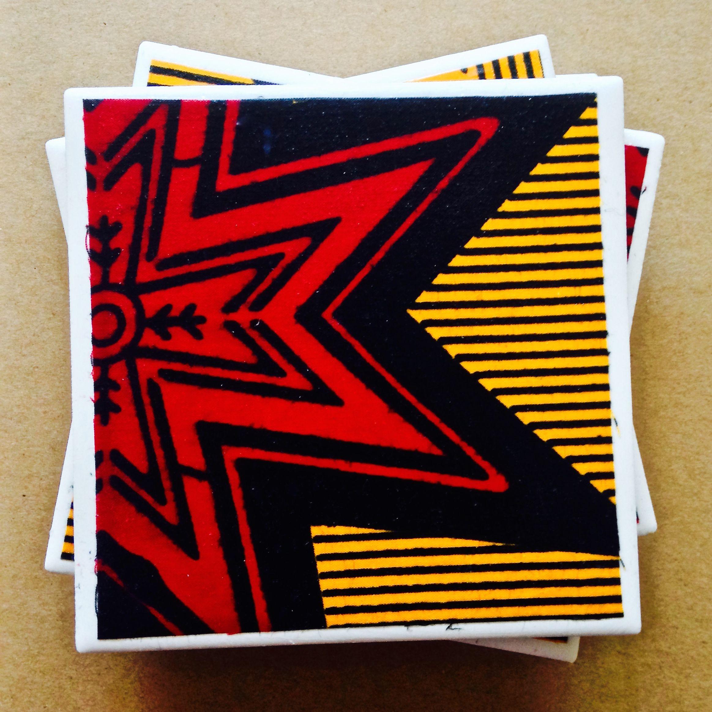 African Fabric Tile Coasters. Ankara Home Decor. Cyprian Rose Design. Colorado  Springs.