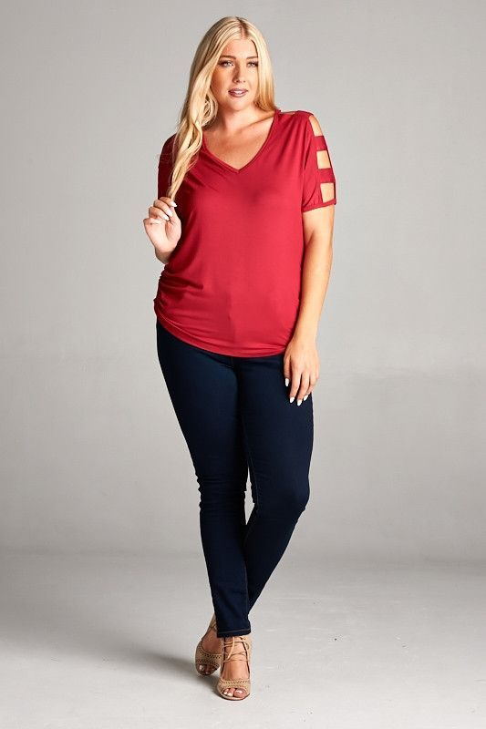Red Cutout Sleeve Top - Plus