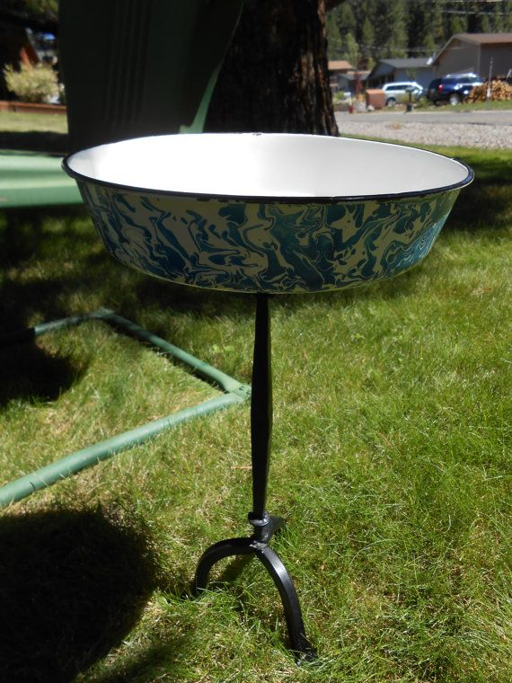 Quirky Rustic Blue and White Enamelware Metal Bird Bath or Bird ...