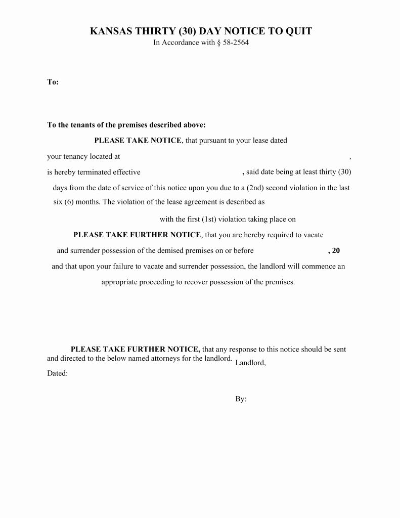30 day eviction notice form unique kansas 30 day notice to