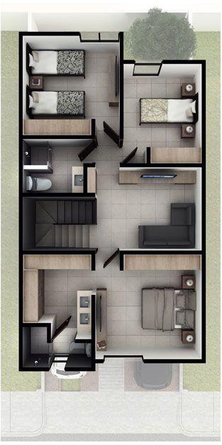 Casas En Queretaro Modelo Jiva Planta Alta Antalia Residencial Layout De Apartamento Design De Casa Projetos De Casas Pequenas