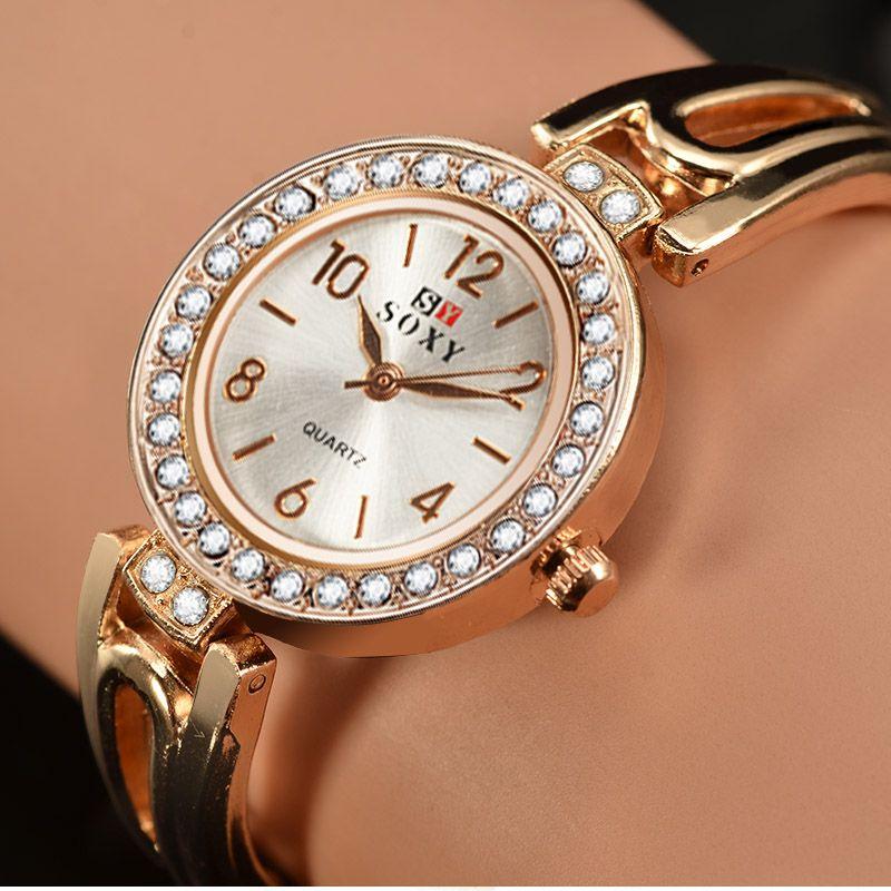 c8ad38456d08f SOXY Brand Fashion Gold Bracelet Watch Women Watches Luxury Rhinestone  Quartz Watch Ladies Watch Hour montre homme reloj mujer