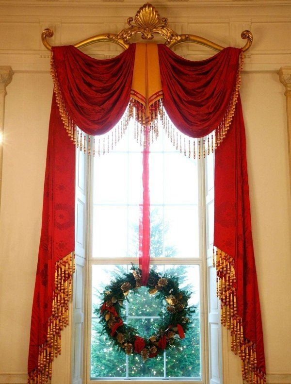 diseño de cortinas para navidad decoración navideña Pinterest