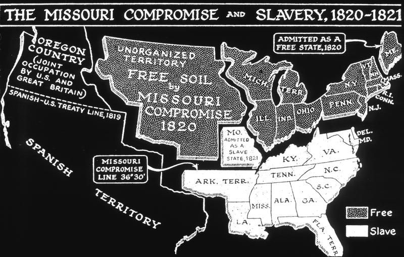 In 1820 Missouri was admitted to the Union as a slave state and ...