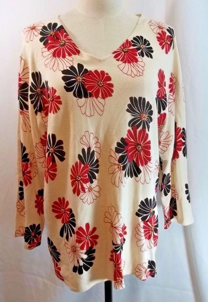 Sag Harbor Sweater Summer Spring Floral Bead Embellishment L NWT #SagHarbor #VNeck