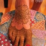 Boston, MA - Mehndi for feet in slipper foot style, with intricate patterning on toes and a simple mandala on the top of the foot www.HennaByHeather.com