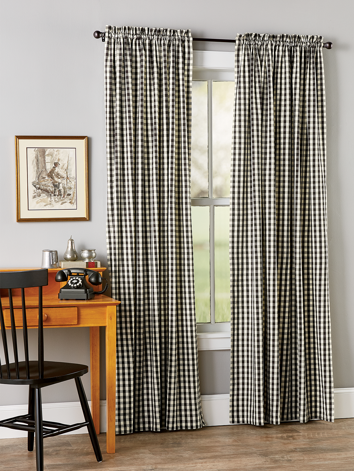 Cabin Check Rod Pocket Curtains Navy 100in W X 72in L Vermont Country Store In 2021 Rod Pocket Curtains Cabin Curtains Curtains What are rod pocket curtains