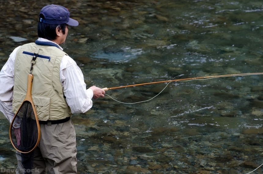 Devostock Sport Man Fly Fishing Nature Water River 4k