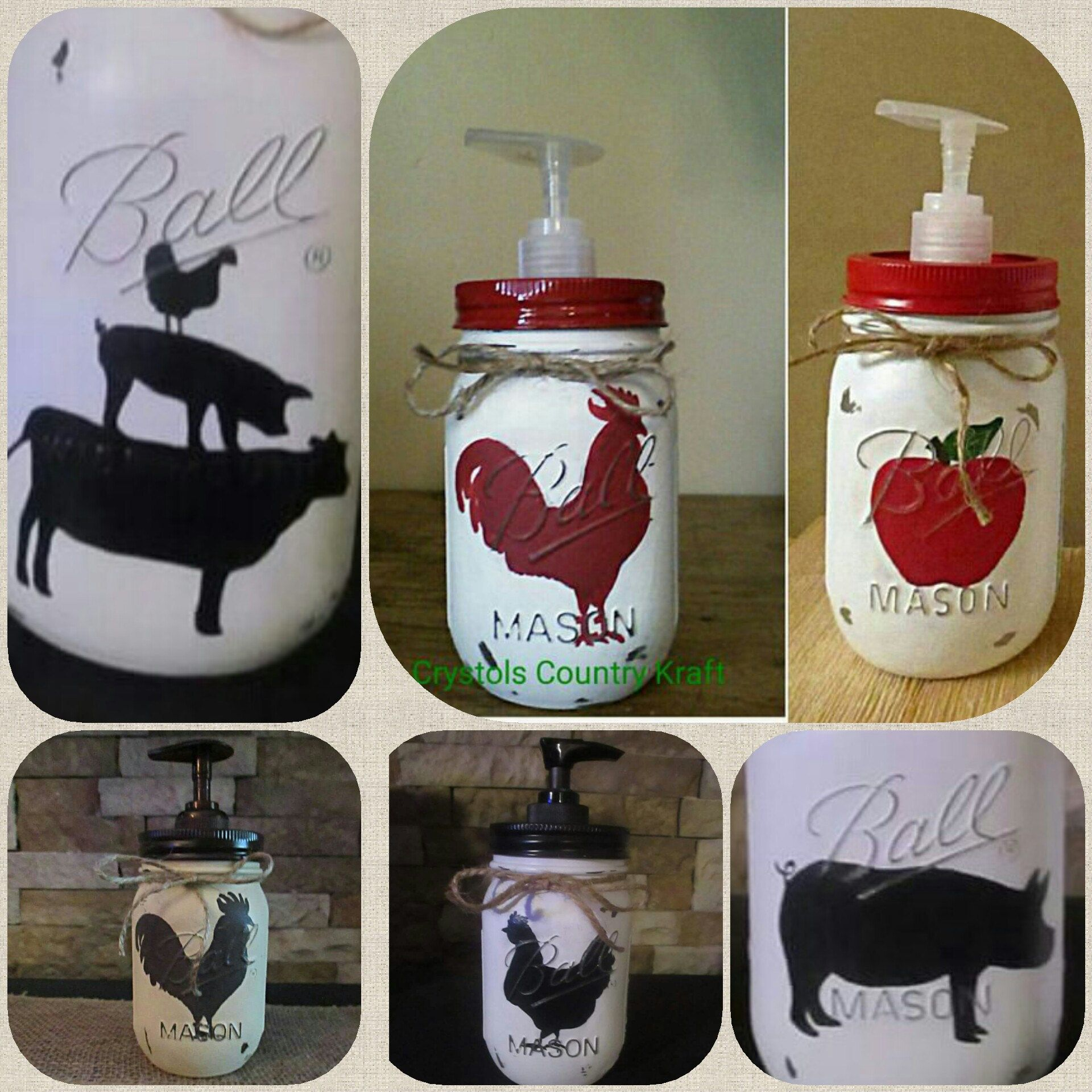 Kitchen soap dispensers, farm house decor,cow,pig, rooster