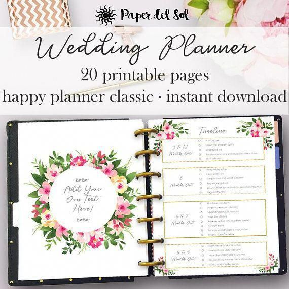wedding planner printable for happy planner printable inserts