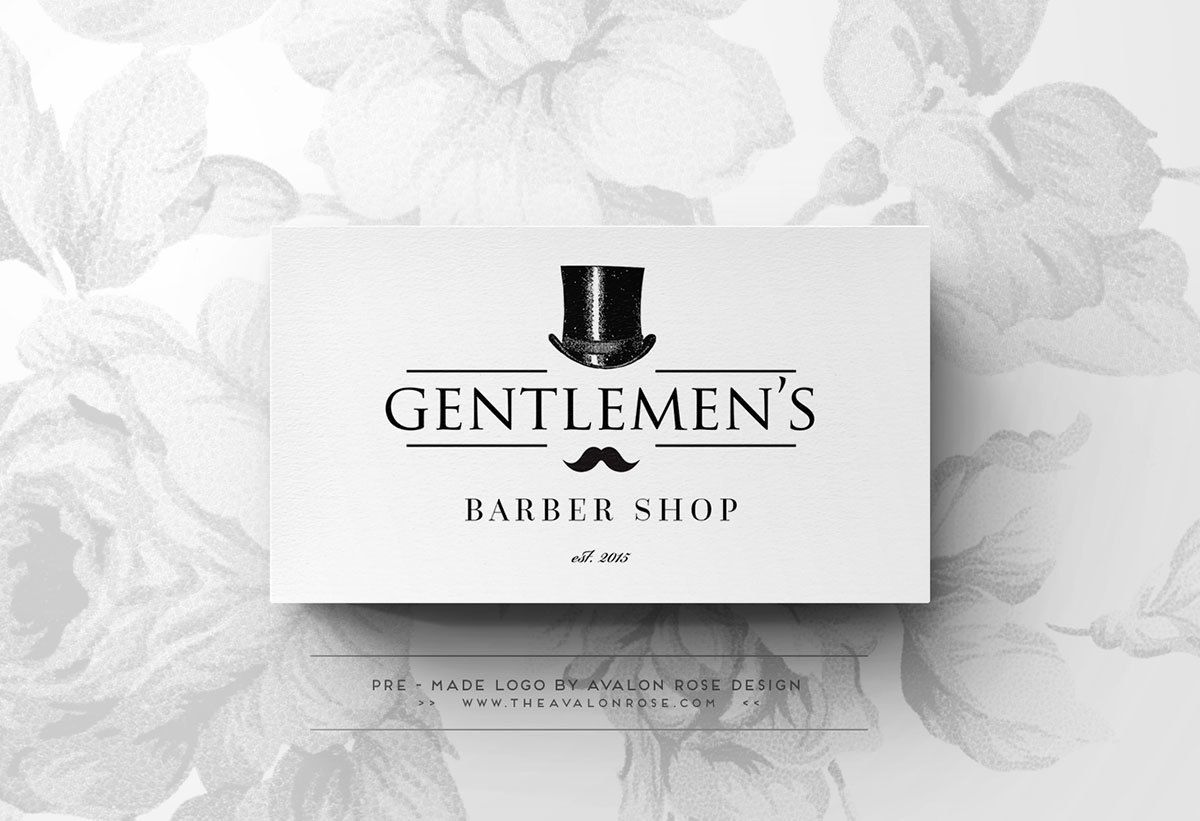 Gentlemen's Barber Shop Premade Logo Design - Customized for your Small Business, Wedding or Event by Avalon Rose Design