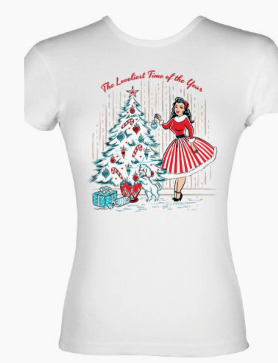 ef1933c36b2 Vintage Christmas Girl Decorating Tree Holiday Cotton T-Shirt Retro Pinup  Rockabilly 2XL Plus Size
