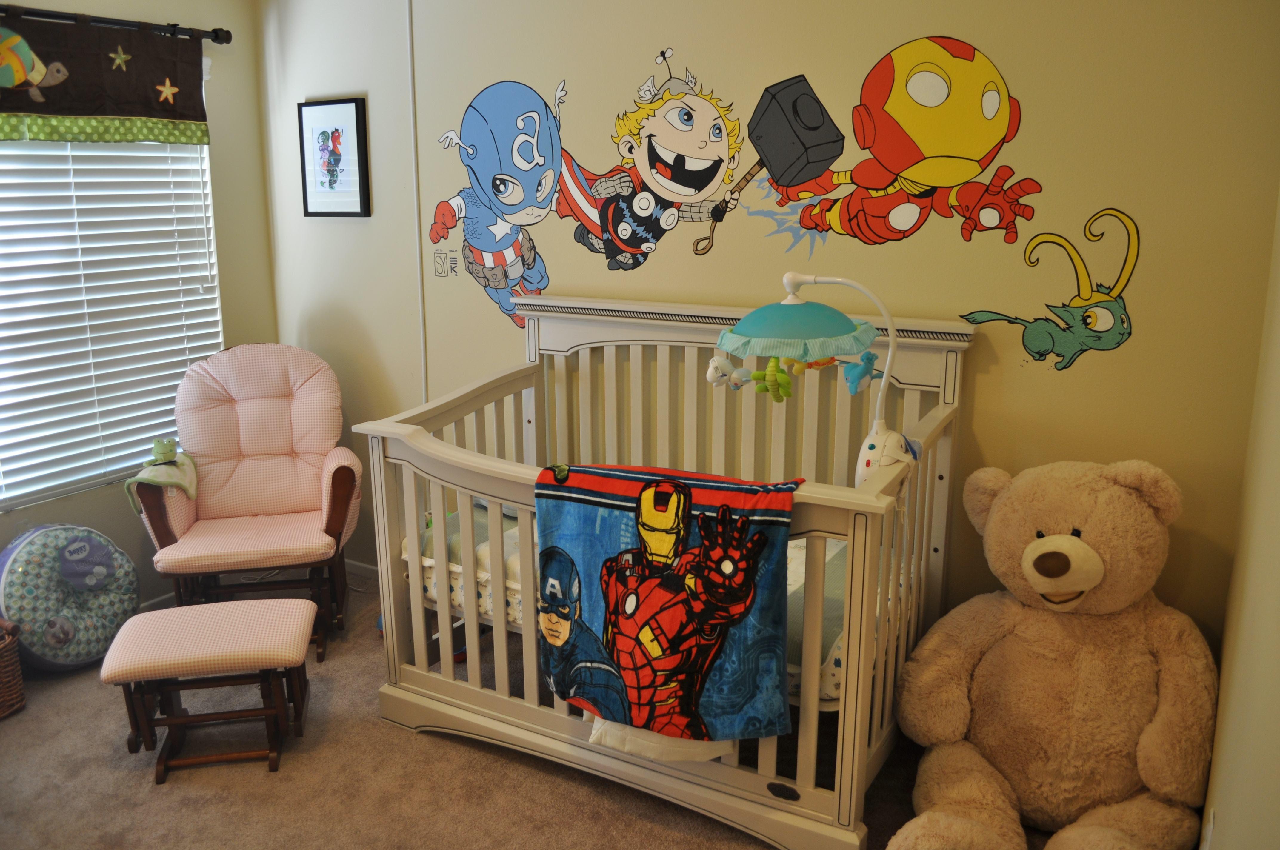 chibi marvel baby   avengers babies mural   super hero fun   pinterest
