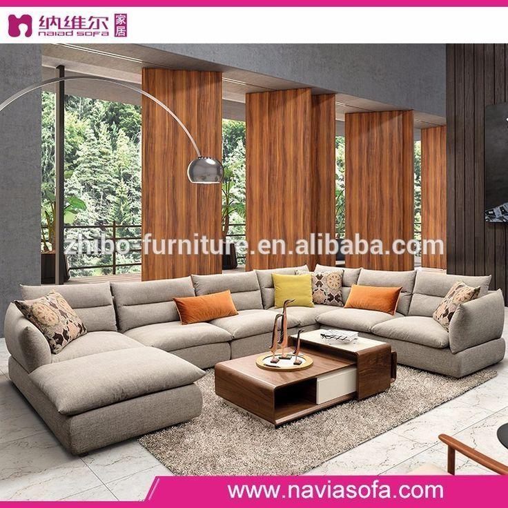 2017 Latest Fabric Sofa Design U Shaped Sectional Round Corner Furniture Living Room Photo