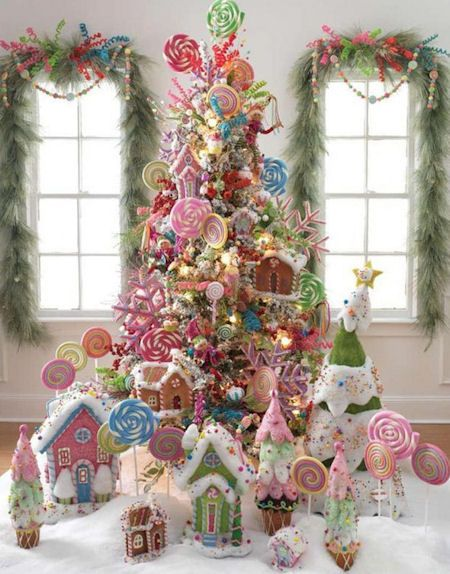 candy theme christmas tree christmas tree themes color schemes - Candy Christmas Decorations
